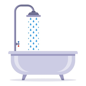 Bath with a tap with water. wash in the shower. flat vector illustration.