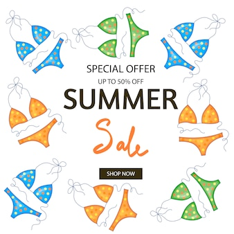 Bathing suits and template lettering about summer discounts and sales.