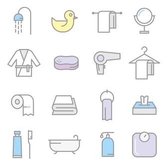 Bathing vector icon set