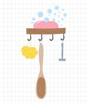Аксессуары для ванной на крючках