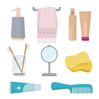 Ванные принадлежности. иллюстрации личной гигиены зубная щетка паста губка полотенце гель мыло мультяшный набор. зубная щетка и ванная комната, мыло и паста, иллюстрация бутылки шампуня
