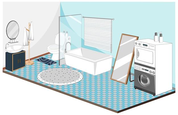 青いテーマの家具とバスルームとランドリーのインテリア