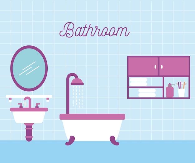 Bathroom bath shower sink and mirror cabinet