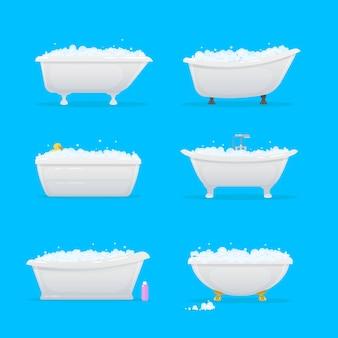 浴室の浴槽または浴槽の漫画。