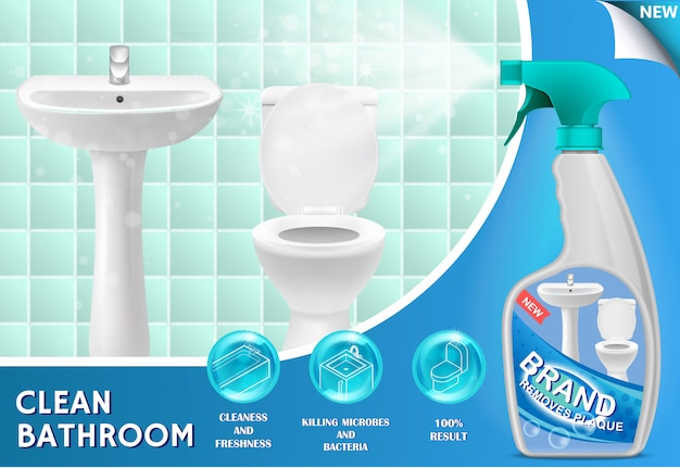 Bathroom cleaner ad 3d illustration