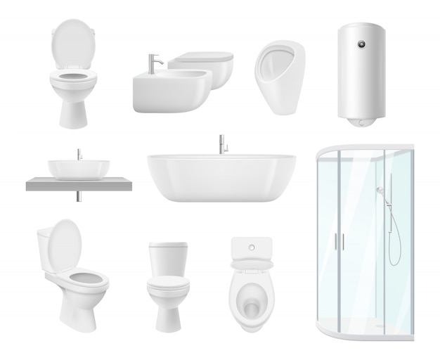 Bathroom collection. washroom toilet sink modern white objects of bathroom realistic pictures