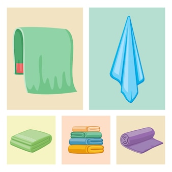 Bathroom color towels icons