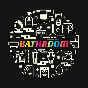 Bathroom colorful gradient with line icons set