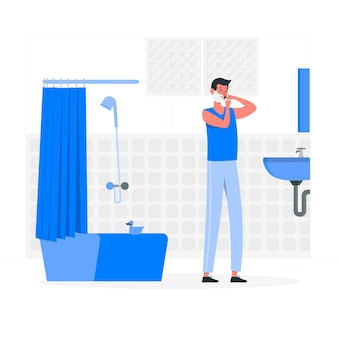 At the bathroom concept illustration