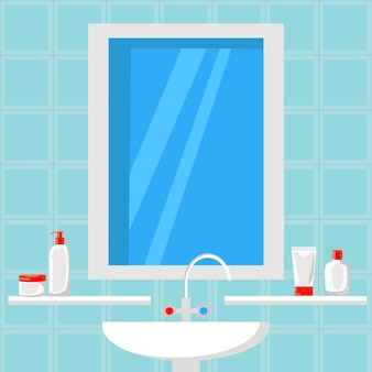 Bathroom design flat vector illustration. banner