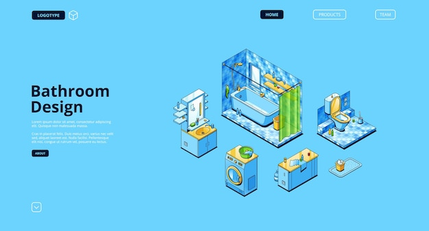 Bathroom design isometric landing page, empty room modern interior
