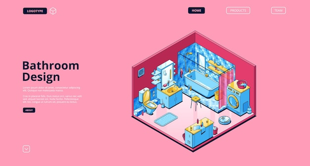 Bathroom design isometric landing page template