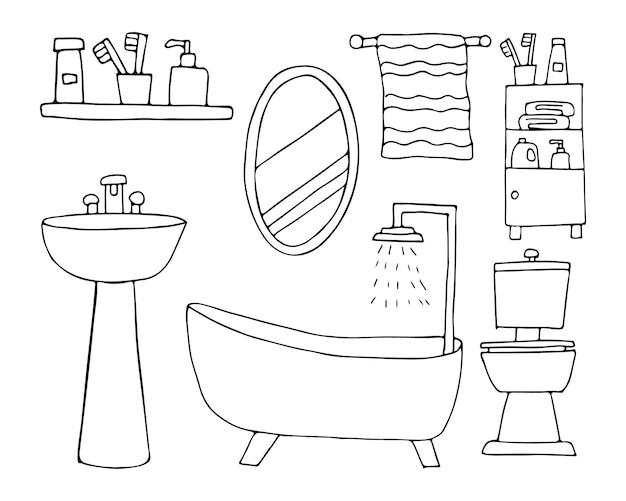 バスルーム落書きイラスト集。ベクトルで手描きのバスルームアイコンコレクション。