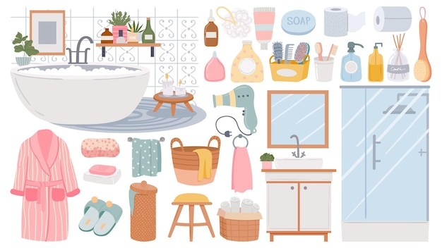 Элементы для ванной. очищающие средства по уходу за кожей и волосами. раковина, душевая кабина, халат и полотенца, губка и мыло. векторный набор мебели для ванной. иллюстрация мебель для ванны, дизайн интерьера ванной комнаты
