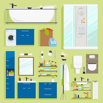 Bathroom equipment vector.