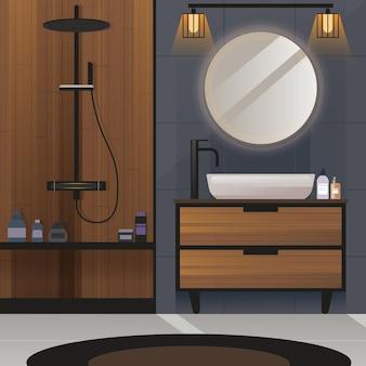욕실 평면 인테리어는 나무 장식으로 프로젝트 아이디어 디자인을 렌더링