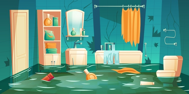 Bathroom flooded illustration