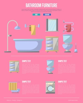 Bathroom furniture  in flat style