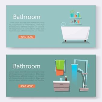 Bathroom furniture interior with modern bathroom sink and shower-bath banner set