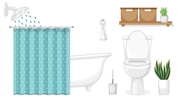 흰색 바탕에 인테리어 디자인을 위한 욕실 가구 세트