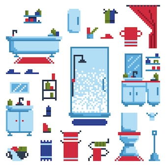 Bathroom furniture set isolated on white background. vector illustration in pixel art style.