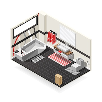 Bathroom futuristic interior isometric composition