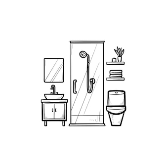 Bathroom hand drawn outline doodle icon. hygiene and shower, toilet and bathtub, wash and furniture concept