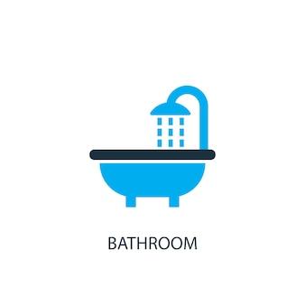 욕실 아이콘입니다. 로고 요소 그림입니다. 2가지 컬러 컬렉션의 욕실 심볼 디자인. 간단한 욕실 개념입니다. 웹 및 모바일에서 사용할 수 있습니다.