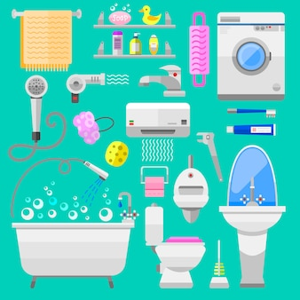 Bathroom icons toilet symbols vector illustration