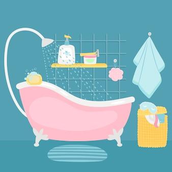 Ванная комната интерьер ванной и аксессуары мультфильм иллюстрации