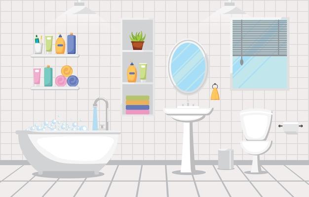 Bathroom interior clean modern room furniture flat design