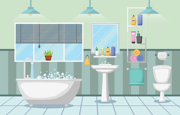 Bathroom interior clean modern room furniture flat design
