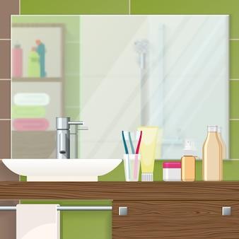 バスルームのインテリアのクローズアップ