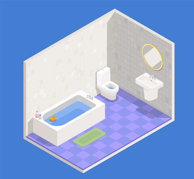 Bathroom interior concept with bath sink and toilet symbols