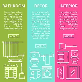 Bathroom interior decor flyers set in linear style