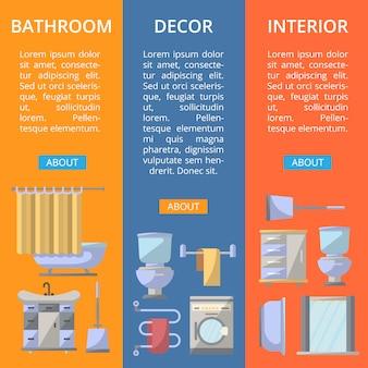 Bathroom interior decor flyers set