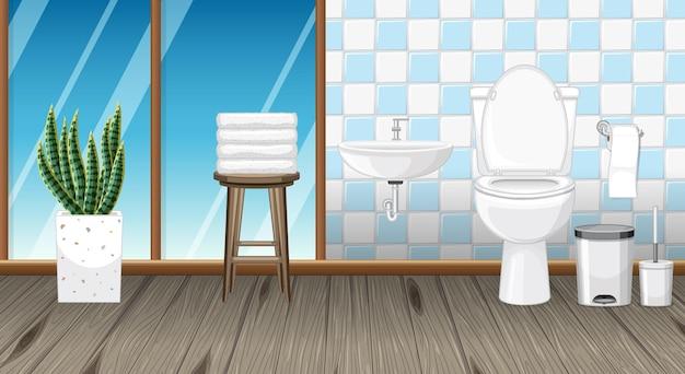 Bathroom interior design with furniture