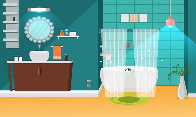 Дизайн интерьера ванной комнаты.