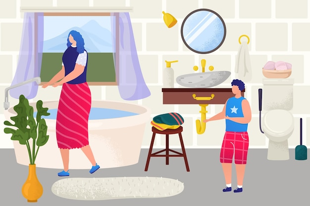Bathroom interior for family, vector illustration. kid, mother woman character at home, wash in bath tube, make child hygiene clean. mom care about little son indoor design, sink mirror decor.