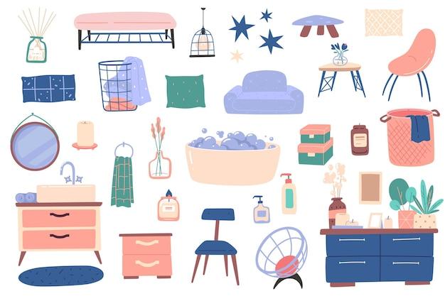 Bathroom interior furniture. house decoration elements, modern cozy scandinavian design, comfortable items, wash, laundry basket. vector set