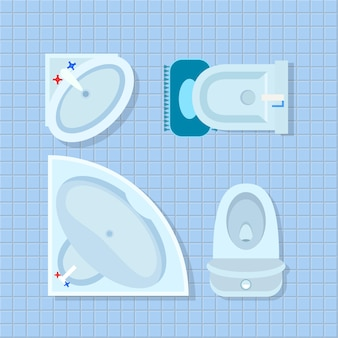 Bathroom interior on illustration