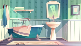 Bathroom interior in vintage French Provence style illustration.