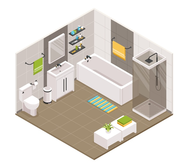 Bathroom interior isometric