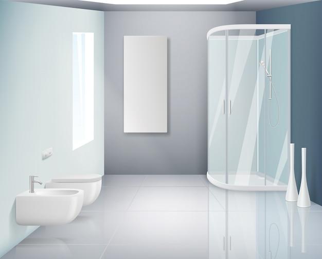 バスルームのインテリア。モダンなトイレや洗面所オブジェクトのバスルームの現実的な背景