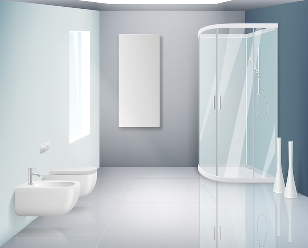 Bathroom interior. modern toilet or washroom objects bathroom realistic background