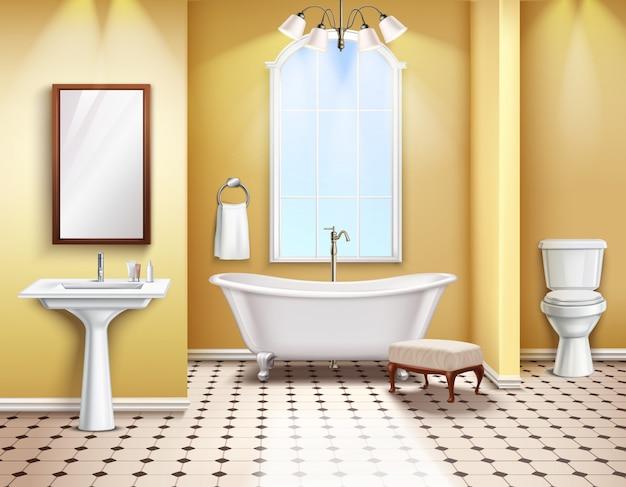 Интерьер ванной комнаты реалистичные иллюстрации