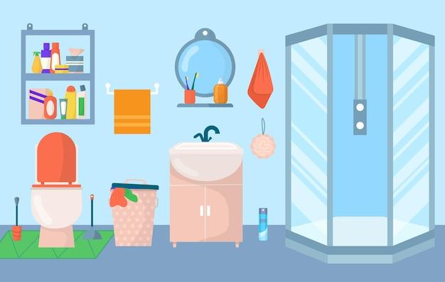 Bathroom interior vector illustration home furniture in rom towel mirror sink modern bathtub for fla...