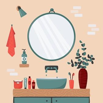 Интерьер ванной комнаты с голубой раковиной на деревянной стойке и большим круглым зеркалом