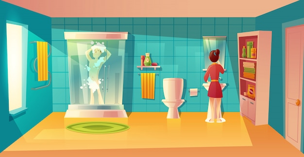Bathroom interior with couple in morning hygiene. combined room with furniture. man in shower