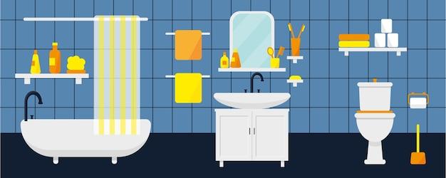 家具とトイレ付きのバスルームのインテリア。図。